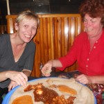 Traditional Eritrean food with injera bread