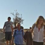 Walking through the mountains to the village