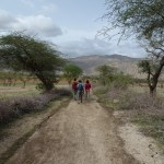 Walking to the village