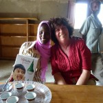 Jane and Walett with her new solar-powered lamp